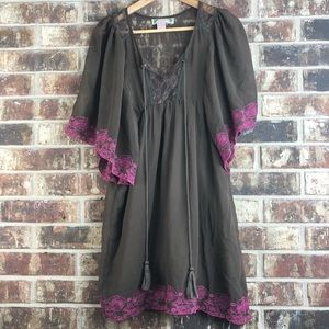 Flying Tomato Boho Brown/Pink Sheer Lace Dress S